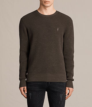 Mens Trias Crew Jumper (OLIVE GREEN NEP) - product_image_alt_text_1