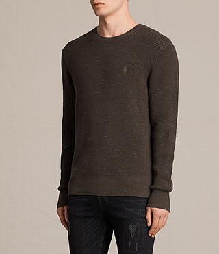 Hombres Trias Crew Jumper (OLIVE GREEN NEP) - product_image_alt_text_3