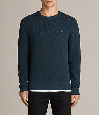 Men's Trias Crew Jumper (PETROL BLUE MARL) - Image 1