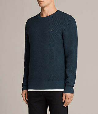 Men's Trias Crew Jumper (PETROL BLUE MARL) - Image 3