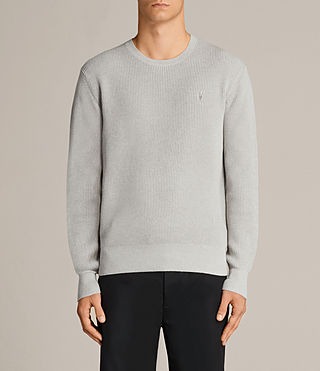 Hombres Trias Crew Jumper (Light Grey Marl) -