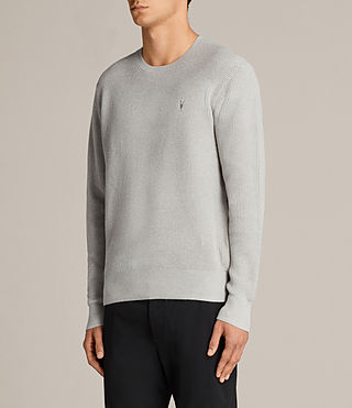 Mens Trias Crew Sweater (Light Grey Marl) - product_image_alt_text_3