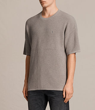 Uomo Trias Short Sleeve Crew Jumper (PUTTY GREY MARL) - product_image_alt_text_3