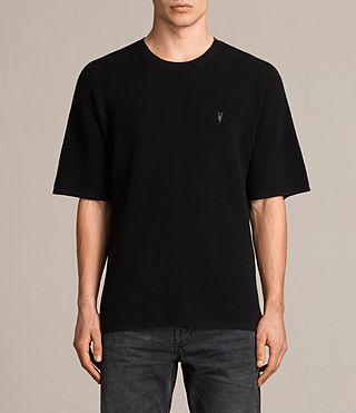 Hombres Trias Short Sleeve Crew Jumper (Black) -