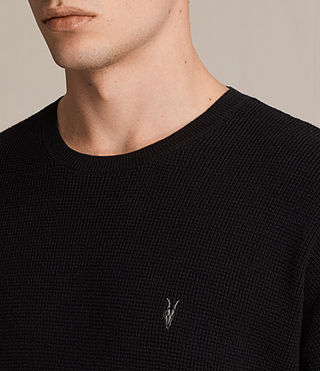Hombres Trias Short Sleeve Crew Jumper (Black) - product_image_alt_text_2