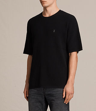 Hombres Trias Short Sleeve Crew Jumper (Black) - product_image_alt_text_3