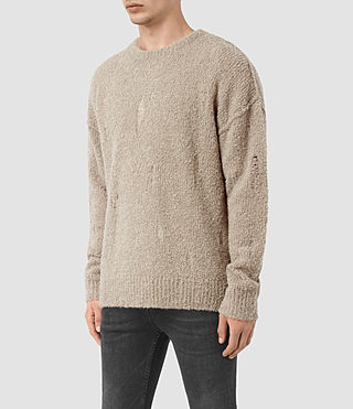 Mens Hannent Crew Sweater (Taupe Marl) - product_image_alt_text_3