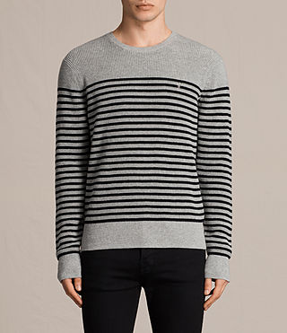 Hombre Trias Breton Crew Sweater (Grey Marl) - product_image_alt_text_1