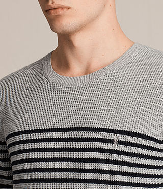 Mens Trias Breton Crew Sweater (Grey Marl) - product_image_alt_text_2
