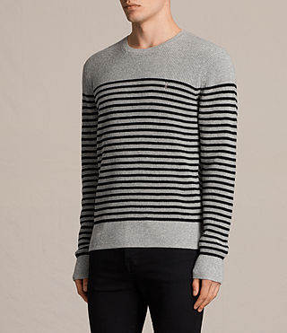 Mens Trias Breton Crew Sweater (Grey Marl) - product_image_alt_text_3