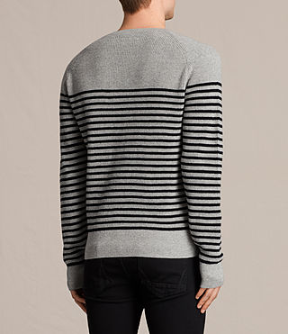 Mens Trias Breton Crew Sweater (Grey Marl) - product_image_alt_text_4