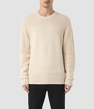 Mens Marsk Crew Sweater (Ecru Taupe) - product_image_alt_text_1