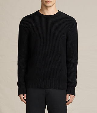 Mens Adan Crew Sweater (Black) - product_image_alt_text_1