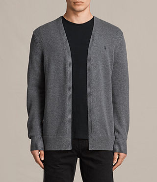 Mens Kai Open Cardigan (Charcoal Marl) - product_image_alt_text_1