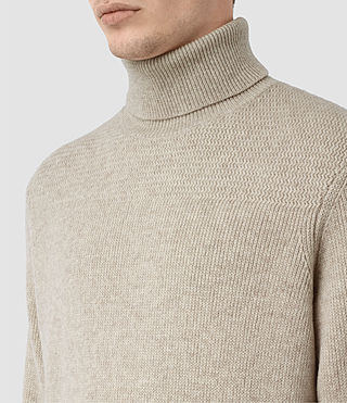 Mens Raynor Roll Neck Sweater (Taupe Marl) - product_image_alt_text_2
