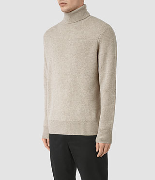 Mens Raynor Roll Neck Sweater (Taupe Marl) - product_image_alt_text_3