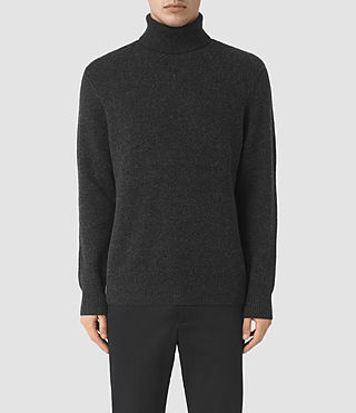 Mens Raynor Roll Neck Sweater (Cinder Black Marl) - product_image_alt_text_1