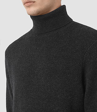 Mens Raynor Roll Neck Sweater (Cinder Black Marl) - product_image_alt_text_2