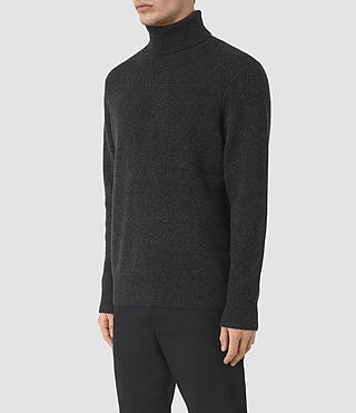 Mens Raynor Roll Neck Sweater (Cinder Black Marl) - product_image_alt_text_3