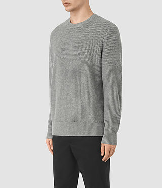 Mens Karnett Crew Sweater (Grey Marl) - product_image_alt_text_2