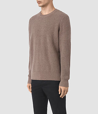Hombres Karnett Crew Jumper (Fawn Brown Marl) - product_image_alt_text_3