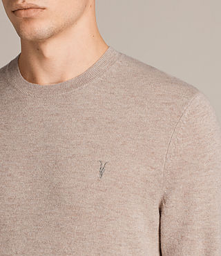 Mens Fen Crew Sweater (Taupe Marl) - Image 2
