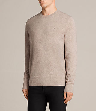 Mens Fen Crew Sweater (Taupe Marl) - Image 3