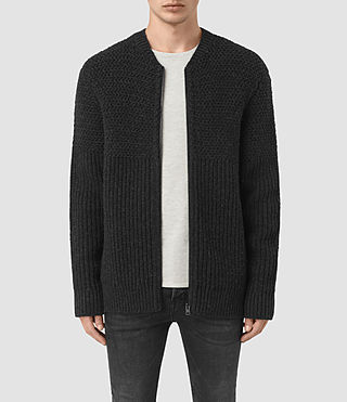 Hombres Mason Zip Through Jumper (Cinder Black Marl)
