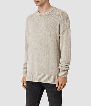 Mens Minami Crew Sweater (Taupe Marl) - product_image_alt_text_3