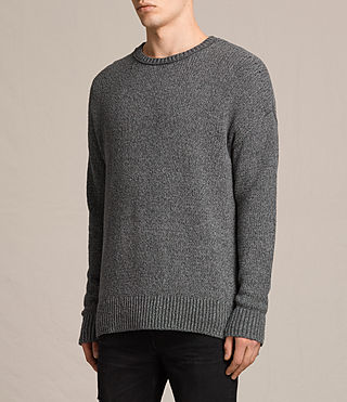 Mens Minami Crew Sweater (Charcoal Marl) - product_image_alt_text_2