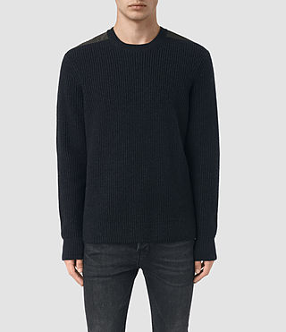 Mens Rylance Crew Sweater (Cinder Black Marl) - product_image_alt_text_1