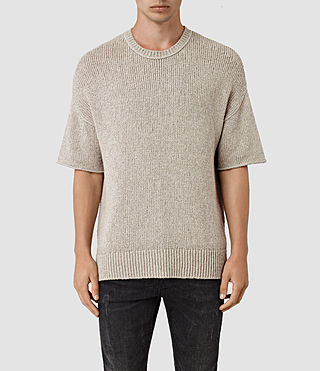 Hommes Minami Knitted T-Shirt (Taupe Marl)