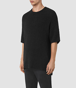 Hommes Minami Knitted T-Shirt (Black) - product_image_alt_text_3