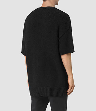 Hombres Minami Knitted T-Shirt (Black) - product_image_alt_text_4