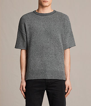 Mens Minami Short Sleeve Crew Sweater (Charcoal Marl) - product_image_alt_text_1