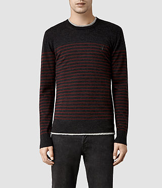 Mens Keel Merino Crew Sweater (Burnt Red / Cinder)