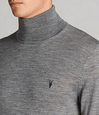Mens Mode Merino Roll Neck Jumper (Grey Marl) - Image 2