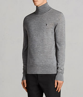 Mens Mode Merino Roll Neck Jumper (Grey Marl) - Image 3