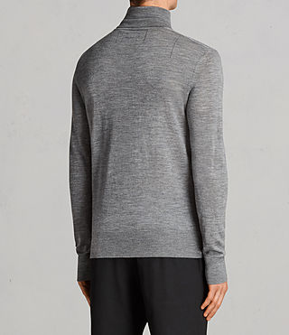 Mens Mode Merino Roll Neck Jumper (Grey Marl) - Image 4