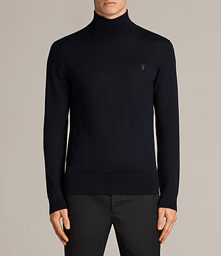 Mens Mode Merino Roll Neck Jumper (INK NAVY) - Image 1