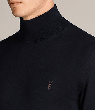 Mens Mode Merino Roll Neck Jumper (INK NAVY) - Image 2