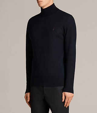 Mens Mode Merino Roll Neck Jumper (INK NAVY) - Image 3