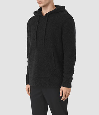 Hombres Hinami Knitted Hoody (Black) - product_image_alt_text_2