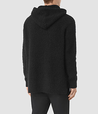 Hombres Hinami Knitted Hoody (Black) - product_image_alt_text_4
