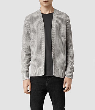 Mens Moat Open Cardigan (Light Grey Marl)