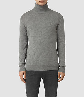 Herren Rue Roll Neck Jumper (Grey Marl) -