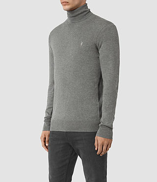 Herren Rue Roll Neck Jumper (Grey Marl) - product_image_alt_text_3