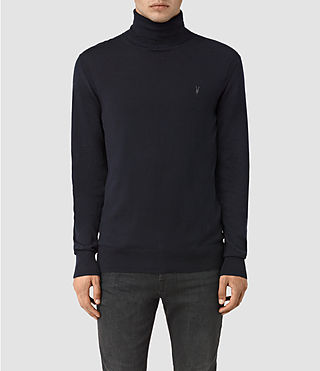 Hombres Rue Roll Neck Jumper (INK NAVY) -