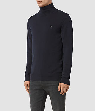 Mens Rue Roll Neck Jumper (INK NAVY) - product_image_alt_text_3