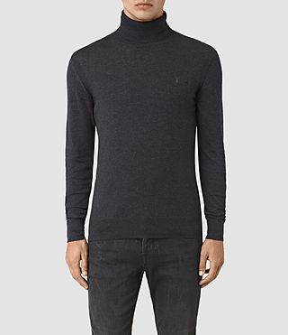 Hombres Rue Roll Neck Jumper (Cinder Black Marl)